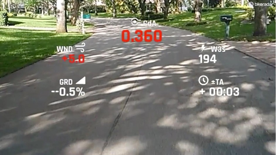 When paired with a PowerPod and a power meter, the Everysight Raptor gives real-time CdA measurement, plus above/below color indications and time gained or loss over a rider's default position