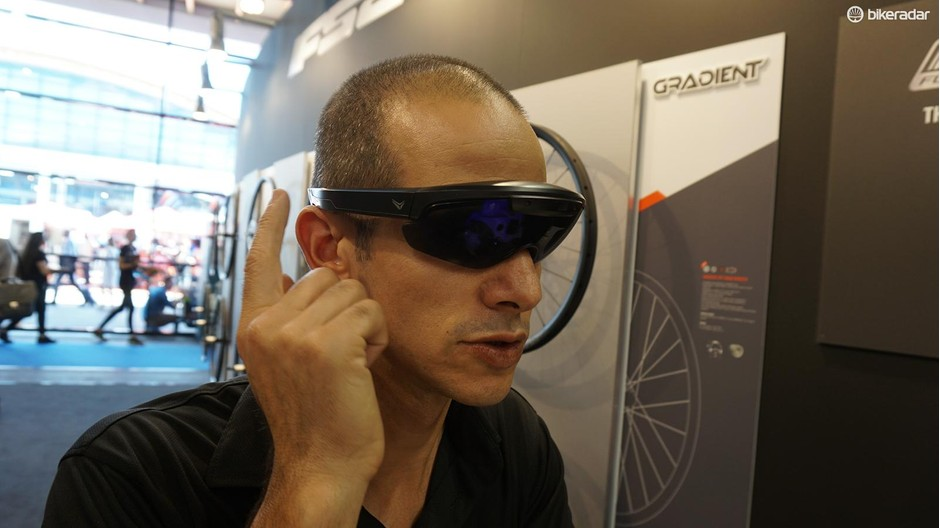 The EverySight Raptor is effectively a bike computer that is controlled by a touchpad on the sunglass arm, and an app