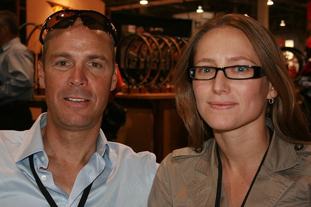 Team R.A.C.E. Pro director Steve Bauer with Josee Larocque at Interbike 2007.
