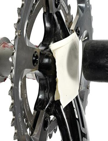 Protect the finish of the cranks with a piece of tape