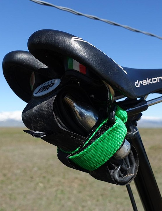 Backcountry Research sent a couple handy mounting solutions for trailside repairs. Its Race MTB Saddle Mount carried a tube and CO2 under my saddle in perfect security