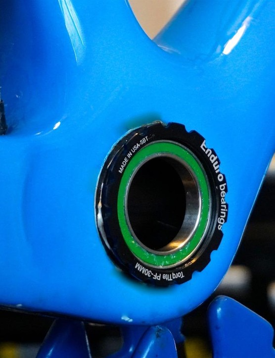 The green seal on this Enduro Bearings bottom-bracket system indicates a higher-than-usual quality