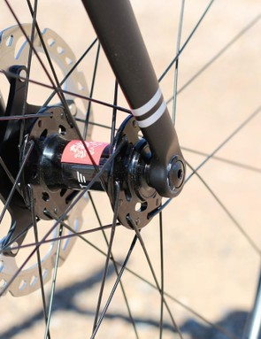 The Ushuaia hub flanges are angled in line with the spokes (28, front and rear) to reduce stress points