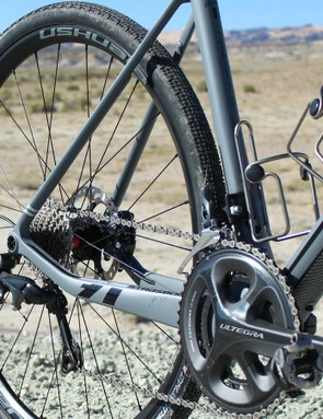 Eddy Merckx claims the dropped chainstay offers more compliance than a straight design. Riding on choppy roads, the chain was often smacking my ankle—an argument for a taut 1x system. However, I used and appreciated each and every one of my gears on the 50/34 - 11-32t double set up