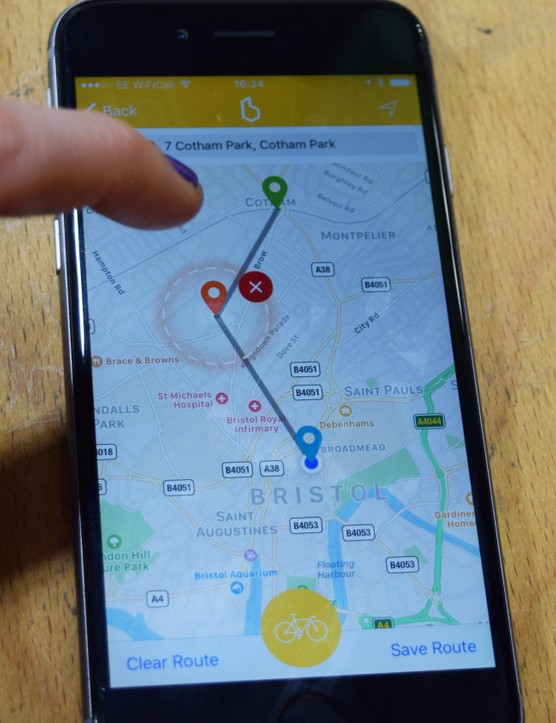 You can also use the map function to choose a destination and plot a route, dragging and dropping pins to add waymarks