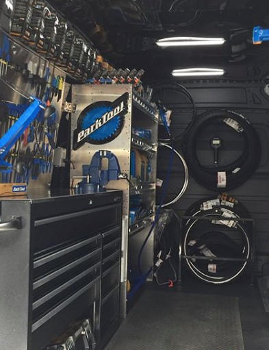 Mobile bike shops are loaded with complete repair stations, tools, and parts