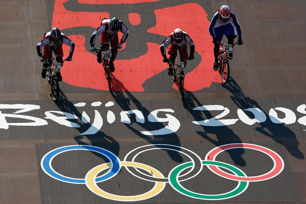 Competitors train during a pratice session at Laoshan Bicycle Moto Cross (BMX) Venue on Day 11 of the Beijing 2008 Olympic Games