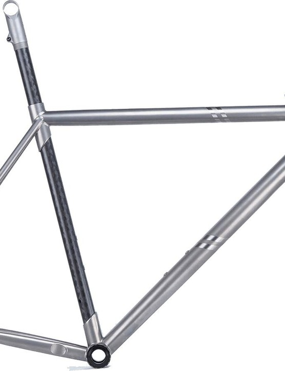 The frameset is a combination of titanium and carbon fibre