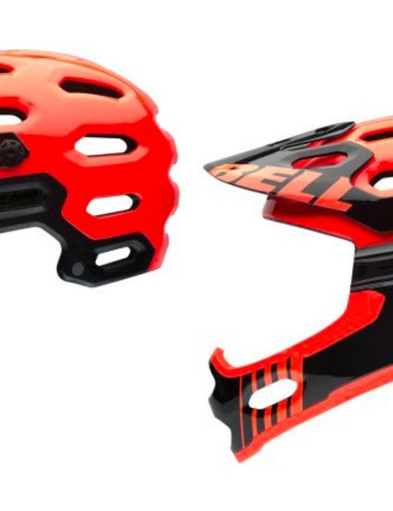 The Bell Super 2R has a detachable chin guard