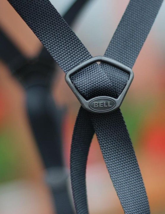 Bell claims this Tri-Glide strap lets the straps lay flat — and flat is fast in the wind