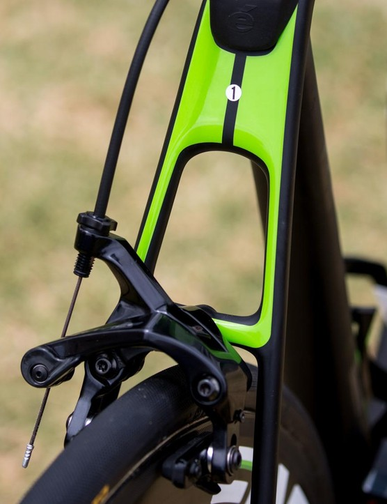 A small sticker denotes whether this is O'Connor's race bike or his back up bike