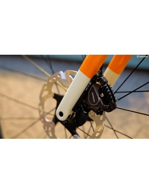 Shimano's flat-mount calipers do look the part on road bike forks