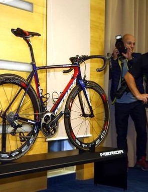Andreas Rottler, director of sport marketing at Bahrain-Merida, examines the new bikes