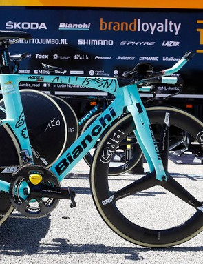The PRO wheels are paired with Vittoria tubular tyres