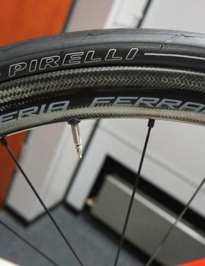 Fulcrum Speed 40C Carbon clinchers (1,420g) are branded Scuderia Ferarri