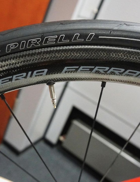 Fulcrum Speed 40C Carbon clinchers (1,420g) are branded Scuderia Ferarri