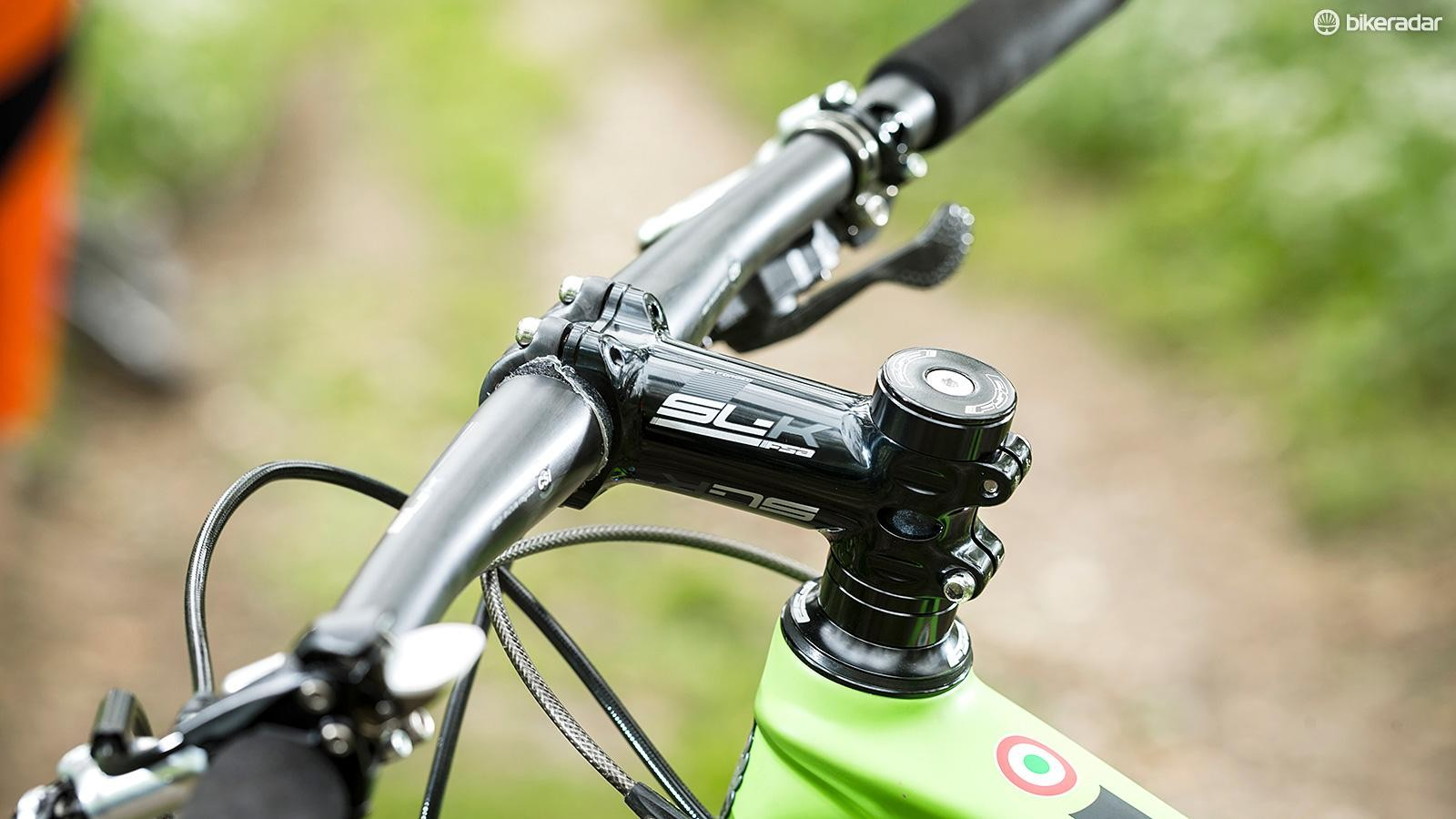 Many riders will prefer to swap out the ultra narrow 685mm bar