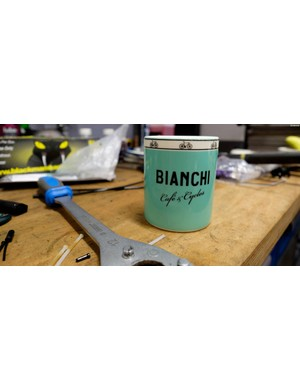 The Bianchi Café & Cycles mug, a reminder of the beautiful things in life