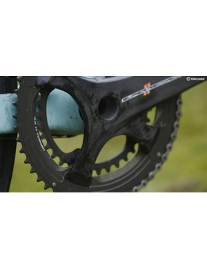 The combination of a 52/36 crankset with an 11-25 11spd block make for rapid performance whether going up or down
