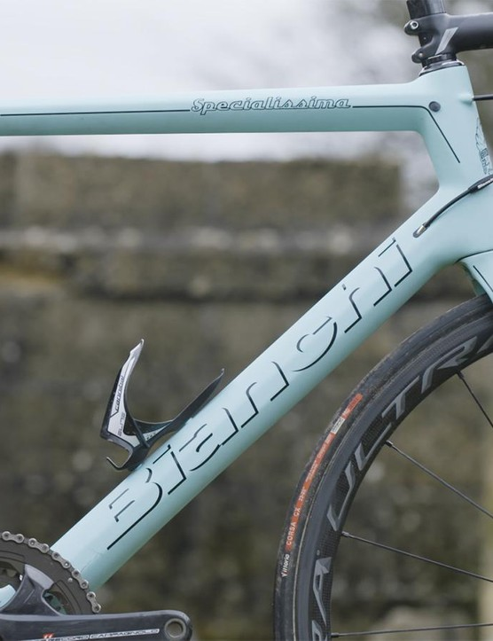 The frame is infused with Bianchi's Countervail technology, soaking up vibration and reducing fatigue