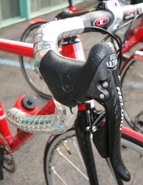 Easton 'bars wrapped in Chrome tape with Campag Record levers