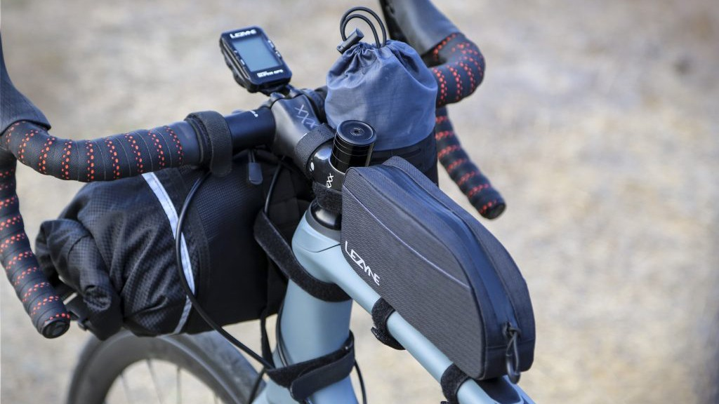 One angle of a bike loaded up with the Lezyne bags