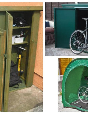 These standalone bike shelters are an option if you don't have room for a shed. Clockwise from left - Shackup Tridoorbikestore, Asgard Additions Bike Store, Bike Cave/Tidy Tent
