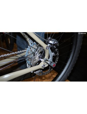Ingermanson machines his own dropouts, in this case with a pivot and tensioner giving the rider the option of using the bike as a single speed