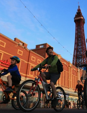 Cyclists taking part in the annual 'Ride the Lights' event on Blackpool promenade