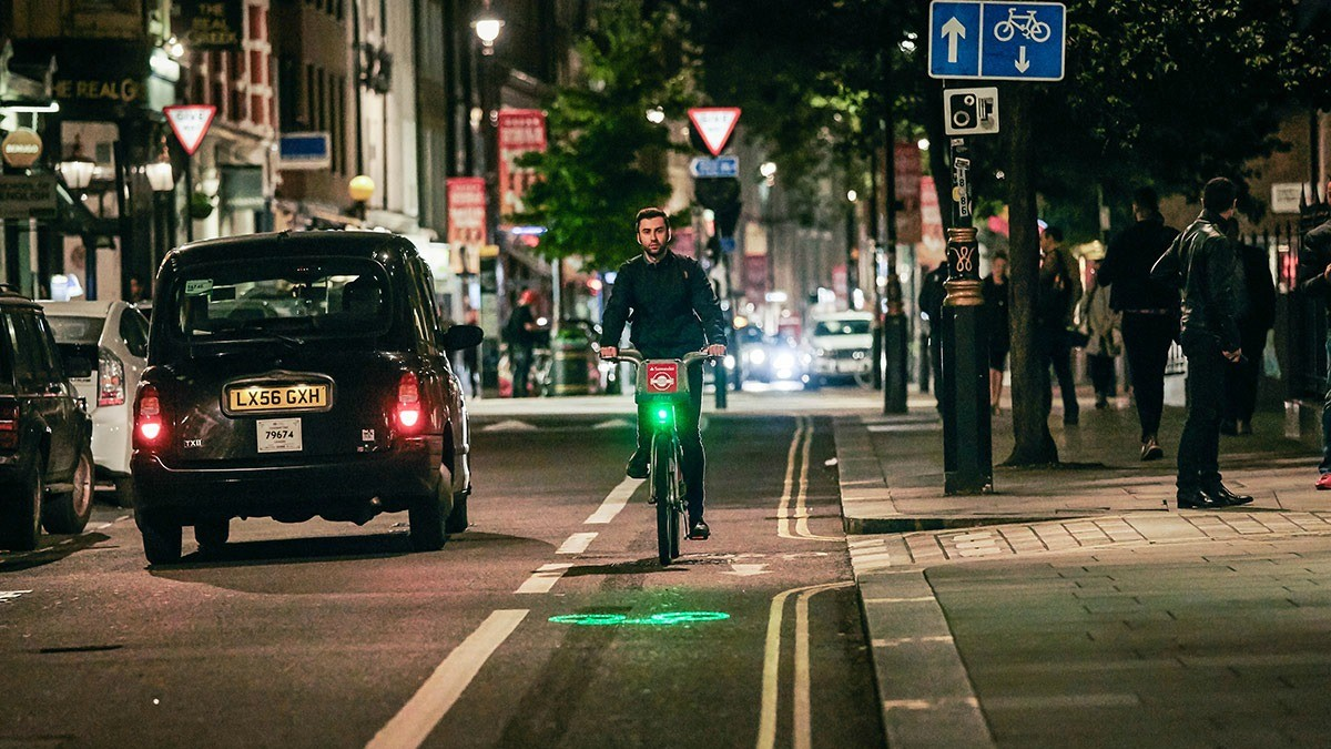 Blaze Laserlights project an image of a bicycle on the road ahead of the cyclist