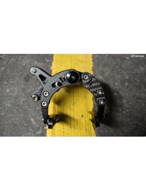The brakes are constructed from a mix of carbon fibre, titanium and aluminium alloy