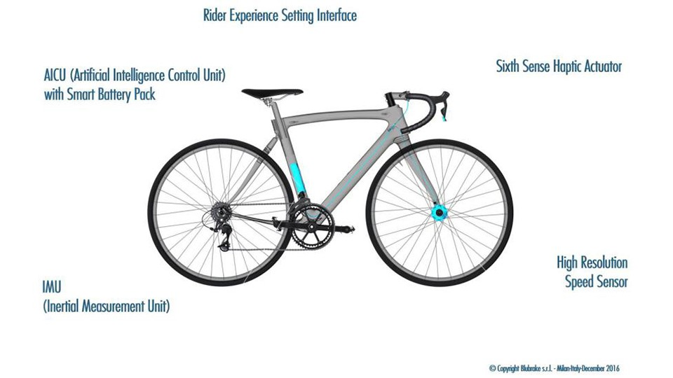 The components of the BluBrake system are designed to be fully integrated into a bike frame
