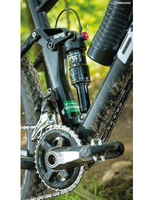 The 2x11 Shimano drivetrain gives plenty of gears but it's clattery in the rough