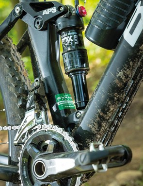 The 2x11 Shimano drivetraingives plenty of gears but it'sclattery in the rough