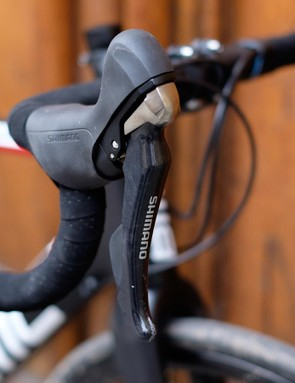 The non-series Shimano R785 shifters do the job admirably