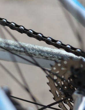 A long chain, compact crank and a bike that encourages rallying leads to a lot of chainslap