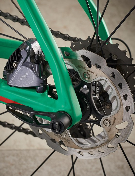 BMC has used a 140mm brake rotor at the rear and 160mm up front