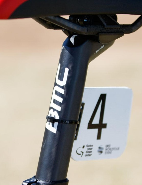 BMC mechanics make use of the SLR01's square-backed seatpost with the addition of a custom number plate holder. Industrial double-sided tape and a cable tie ensure it stays in place