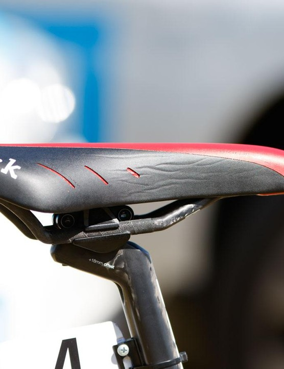 A Fizik K1 triathlon saddle offers more padding at the nose compared with the more common road version