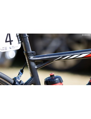 This seat and top tube junction is classic BMC design language. The brand commonly states that a BMC is one of the few bikes you could pick out in a totally pitch dark room