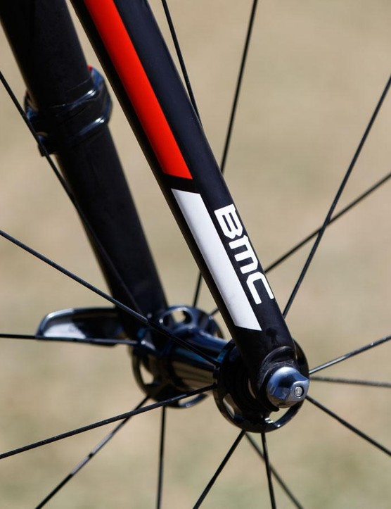 Compared with many others in the peloton, the BMC Teammachine's fork legs are relatively minimal