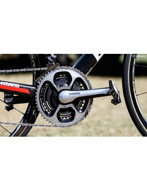 An SRM Shimano 11-speed crank is used to record Porte's power and cadence. Not pictured are the weights hidden within this crank, which bring the bike up to its UCI-legal 6.8kg weight