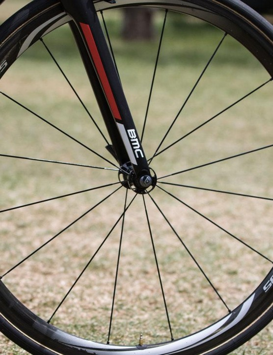 Dennis often changes between Shimano C35 and C50 wheels depending on the course. Pictured are the lighter C35 hoops