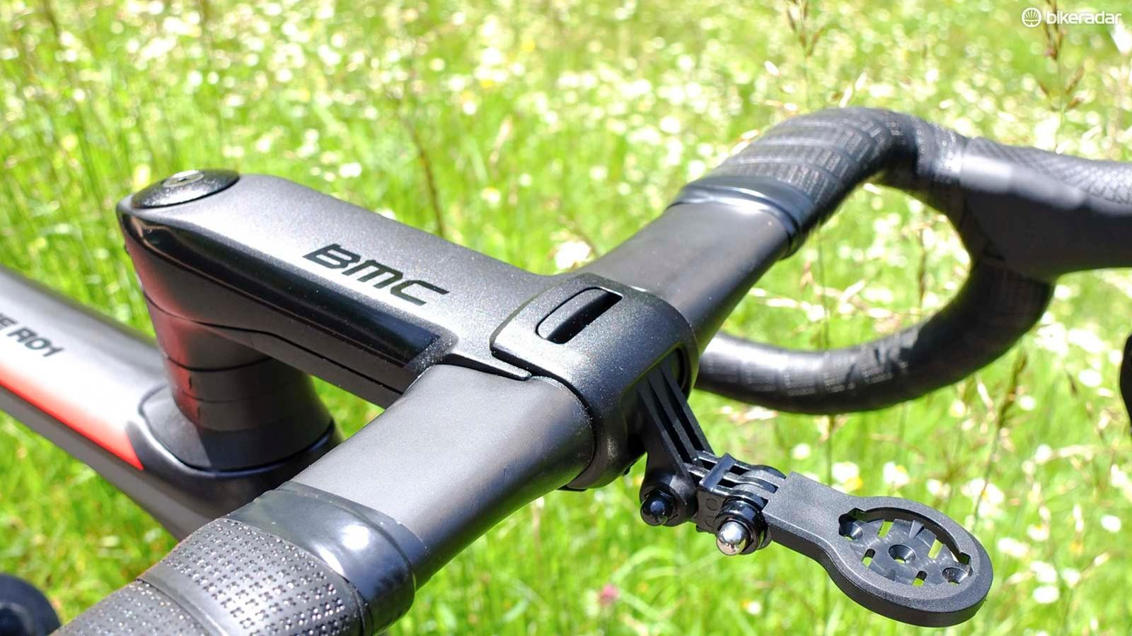BMC's out front GPS/accessory mount slots inside the faceplate and can be adapted to accept any unit