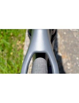 Vittoria's Corsa 25mm tyres have ample clearance and the bike is designed for tyres with a maximum inflated width of 28mm