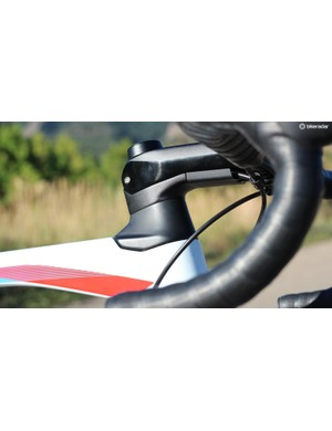 The Roadmachine has two headset cone options. This is the larger of the two. The cable integration is neat, but complicates initial set-up. If you buy the bike at a shop, though, you shouldn't have to worry about it at all