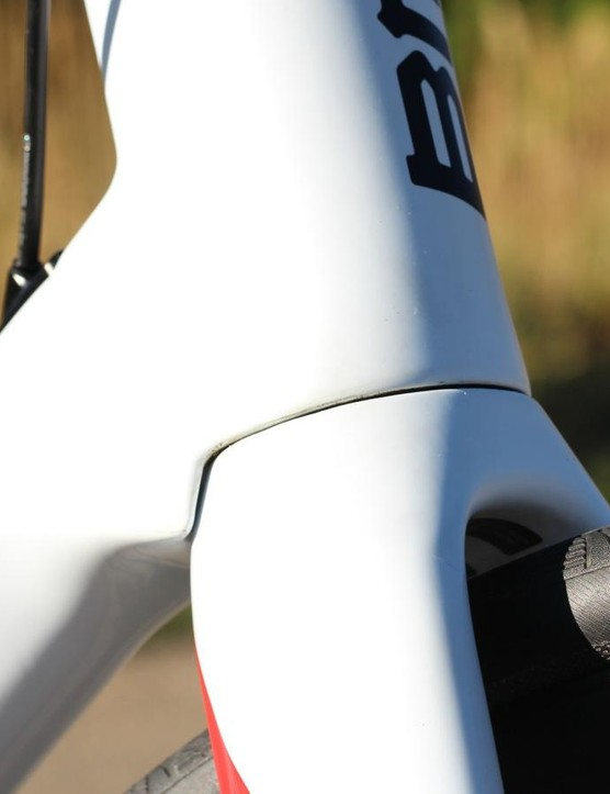 The down tube wrap of the fork is a feature you often see on aero bikes