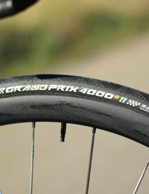 The label says 25mm, but our Feedback Sports calipers say 28mm — thanks to the wide DT rims