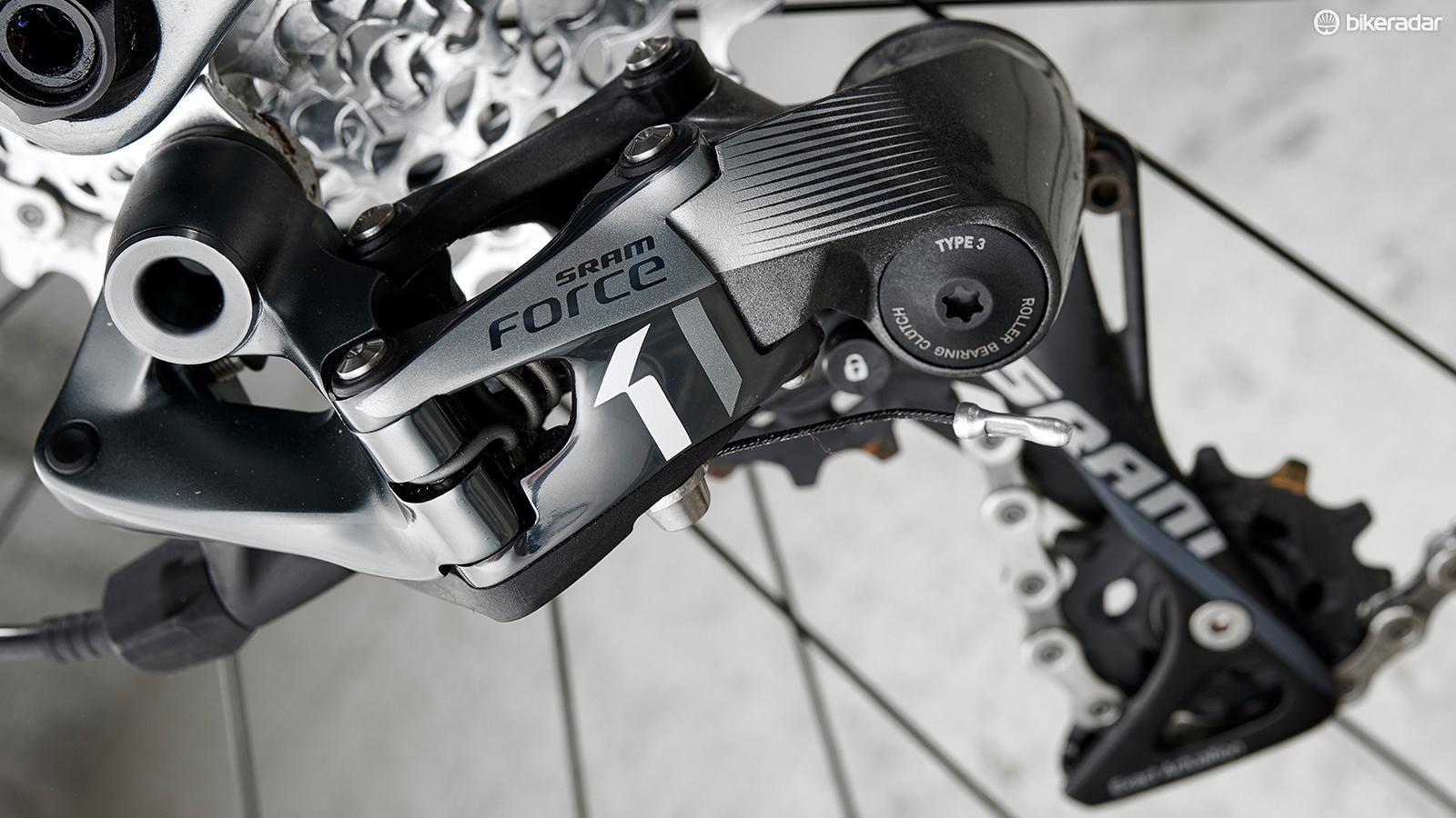 The SRAM Force 1 mech still performed after a thrashing through mud and debris