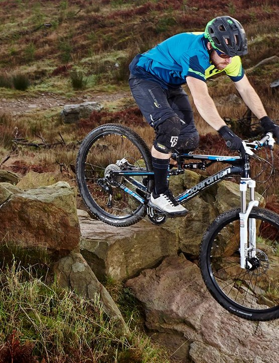 The FS Team's handling is fast and precise, aided by its tapered-steerer, thru-axle equipped front end
